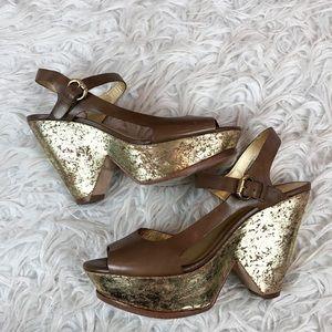Kors Michael Kors Gold Fleck Cut Out Wedge Sandal